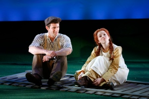 Gilbert Blythe (CJ Pawlikowsk) and Anne Shirley (Alison Woods) in BEND IN THE ROAD. Photo by Carol Rosegg. © 134 West, LLC
